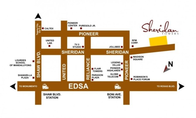Sheridan Towers Location in Mandaluyong, Philippines